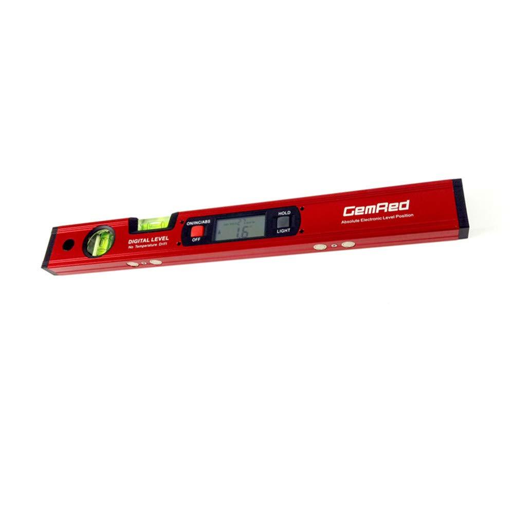 rojo Inclin/ómetro digital con pantalla LCD de 415 mm alcance de 90/°, 360 /° Diglife con 2 bloques de burbujas 4 imanes integrados fuertes parte inferior magn/ética vertical
