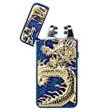 Pard Relief Dragon Windproof Cross Arc Lighter, USB Rechargeable Flameless Electronic Pulse Arc Cigarette Lighter, Blue