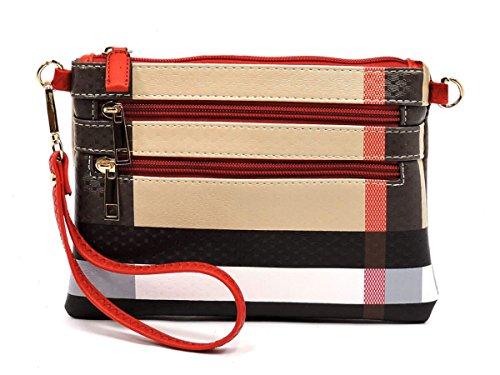 Multi Elphis Bag Clutch Red Wristlet Crossbody Zipper Plaid Check Tartan Lightweight q00TwrtH