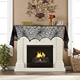 Halloween Decoration 18 x 96 inch Cobweb Fireplace Scarf Mysterious Lace Spider Web Mantle Lace Runner Fireplace Scarf Festive Supplies for Halloween Party Door Window Decoration Black (Black)