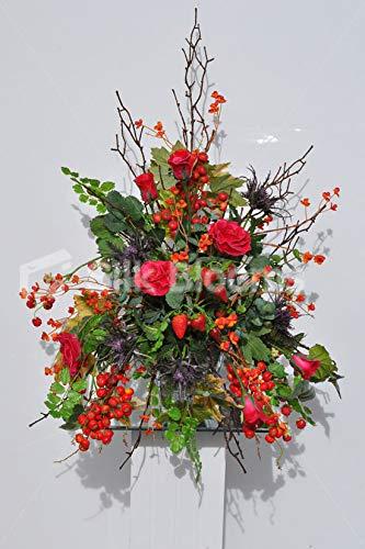 Silk Blooms Ltd 人工レッドとピンクのバラの花のアレンジメント ラズベリーとイチゴ付き B07H8HZX6B
