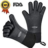 ABOGALE Silicone Microwave Oven Gloves Extra-long Heat Resistant Silicone Cooking Gloves for Barbecue, Grill, Smoker, Kitchen Oven (Black)