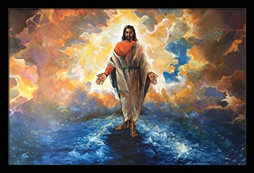 And He Walked On Water ( Religious / Jesus ) - Katherine Roundtree 24x36 Black Framed - African American Black Art Print Wall Decor Poster #2239 (Black Jesus Picture)