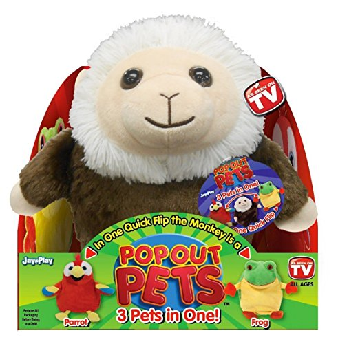 Pop Out Pets Rain Forest, Reversible Plush Toy, Get 3 Stuffed Animals in One - Parrot, Frog & Monkey, 8 in.
