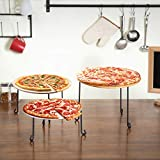 MyGift Metal Wire Round Pizza Pan Risers