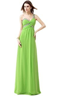 Annas Bridal Womens One Shoulder Chiffon Prom Dresses Long Evening Gowns