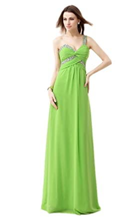 Annas Bridal Womens One Shoulder Chiffon Prom Dresses Long Evening Gowns Green UK6