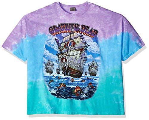 Liquid Blue Men's Plus Size Grateful Dead Ship of Fools Tie Dye Short Sleeve T-Shirt, Multi, 3XL ()