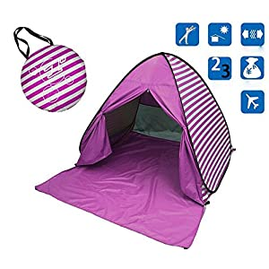 Eplze YBK Tech New Stripe Style Automatic Pop Up Beach Tent UV Protection Instant Portable Quick Cabana Sun Shelter for…