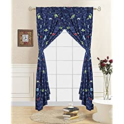 Decotex 4 Piece Navy Dinosaur Jurassic Kids Window Curtain Panel Drape Set with Tie Backs (Navy Dinosaur Curtains)