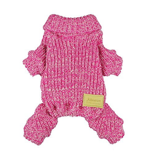 Fitwarm Turtleneck Knitted Coat for Dogs Sweaters Pet Winter Clothes Jumper Pullover Pink Small