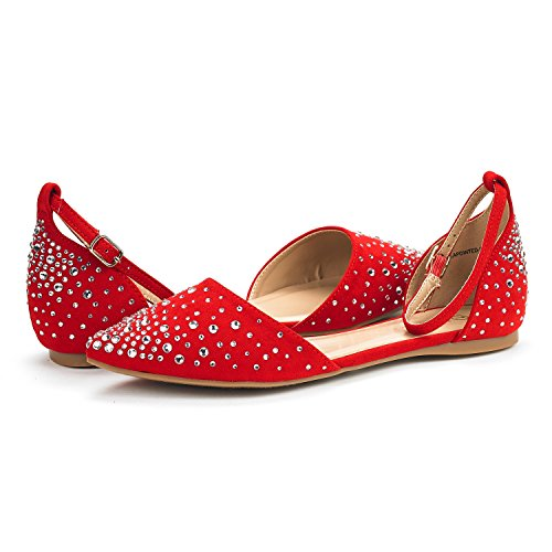 DREAM PAIRS Damen FLAPOINTED-New D'Orsay Ballerinas Schuhe Glanz-rot