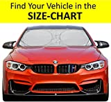 #5: Windshield Sun Shade Hassle-Free SIZE-CHART 210T Nylon for Car Truck Suv Minivan Uv Protector Cover Shields Auto Front Window Visor Fits Various Vehicles