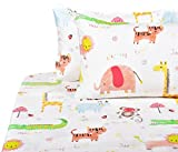 J-pinno Cute Lion Monkey Animals Full Sheet Set for Kids Children,100% Cotton, Flat Sheet + Fitted Sheet + Two Pillowcase Bedding Set (4)