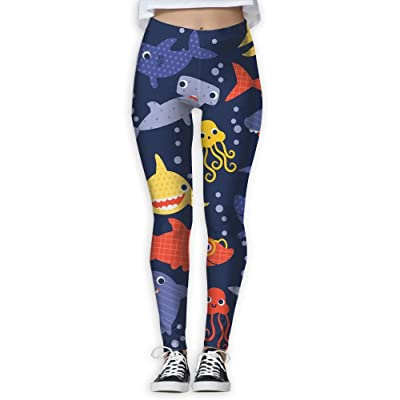 Vgyjm Casual Sharks Yoga Pants Stylish Sports Athletic Compression Pants Leggings for Womens