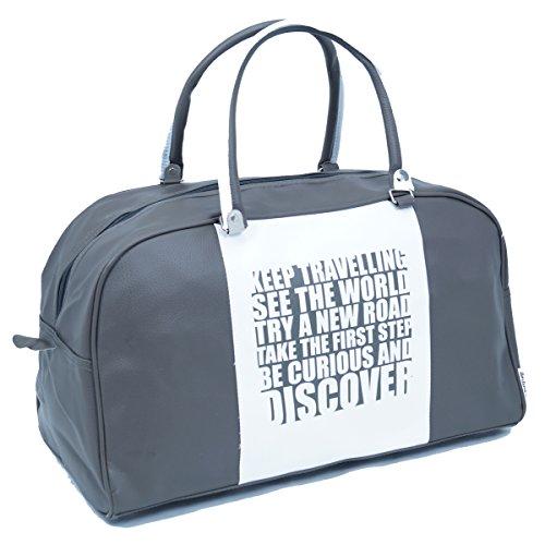 Retro VintageTasche Discover Farbe Braun-Weiß Shopper Bag Freizeit Sport Reisen Unisex Fa. Bowatex