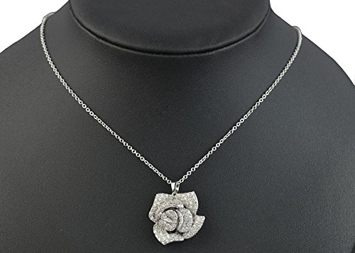 Chanel Charm Necklace (MISASHA Celebrity Designer Camellia Charm Rhinestone Necklace)