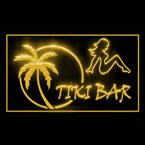 OPEN TIKI BAR Sexy Lady Tropical Paradise fashionable LED Light Signs 170009 Color (Paradise Tiki Bar)