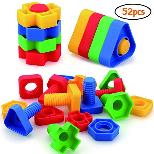 Jumbo Nuts and Bolts Toys for Toddlers Preschoolers Kids, STEM Educational Montessori Building Construction Screw Matching Activities for 3,4,5 Year Old Boy and -
