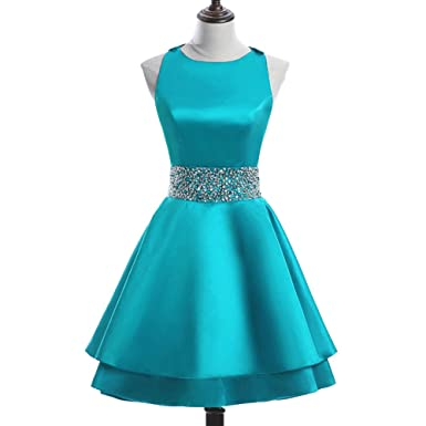 Meilishuo Womens Crew Beading Prom Dresses Short Sequiuned Homecoming Dresses for Teens Mini Cocktail Dresses,