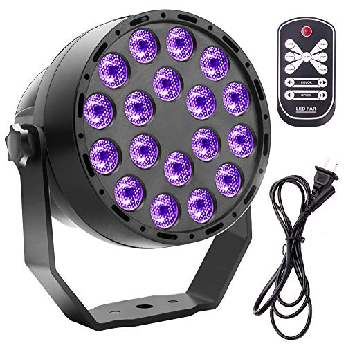 Black Lights for Parties, U`King 36W 18LED UV Blacklight with Glow in The Dark Party Supplies by Remote Control and DMX for Party Birthday Wedding Stage Lighting