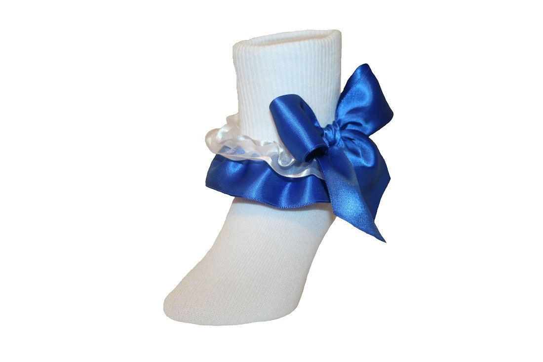 Girls Ruffle Ankle Socks with Satin Organza & Bows in Assorted Colors (5-6.5 Toddler, Royal Blue)