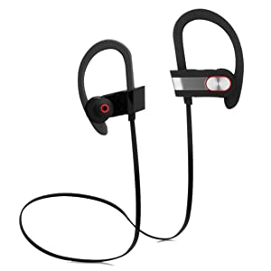 Bluetooth Headphone, Wireless Headset Over-Ear Sport Sweatproof Earbud Behind-Ear Secure Comfort Fit, Crystal Clear Sound with Strong Heavy Bass, iPhone Android Compatible, Hands-Free Calling Mic