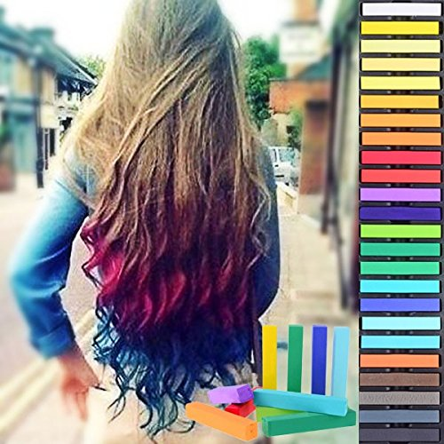HAIRCHALKIN 36 Colors Temporary Hair Chalk Set - Non-Toxic Rainbow Colored Dye Pastel Kit