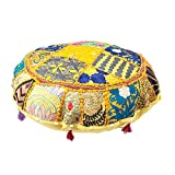 bohemian living room Indian Ottoman Pouf Cover Decorative Living Room Foot Stool Bohemian Chair Covers Handmade Cotton Traditional Round Pouf Ottomans Comfortable Embroidered PatchWork Floor Cushion