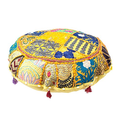 Indian Ottoman Pouf Cover Decorative Living Room Foot Stool Bohemian Chair Covers Handmade Cotton Traditional Round Pouf Ottomans Comfortable Embroidered PatchWork Floor Cushion