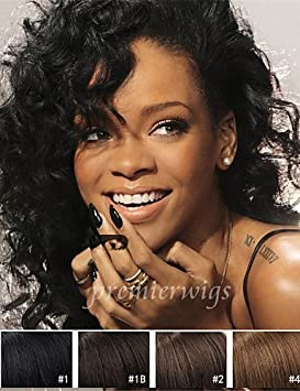 Zq Vente En Gros Style Rihanna Naturels Bouclés Perruques Chinois