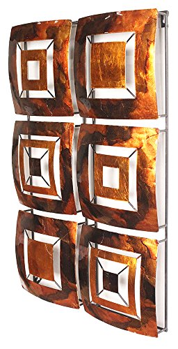 Cheap Heather Ann Creations 6 Geometric Squares Panel Modern Metal Hanging Wall Sculpture, 16.2″ H x 24.8″ W, Copper/Brown/Gold