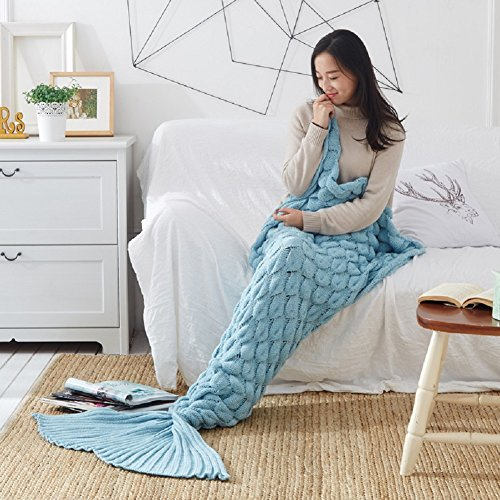Blue Shark Power Ranger Costume (Handmade Mermaid Tail Blanket Crochet , iBaby888 All Seasons Warm Knitted Bed Blankets Sofa Living Room Quilt for Adults, Fish-scales Pattern, 76.8
