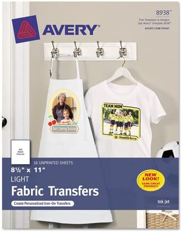 8 1//2 x 11 White 18//Pack Light Fabric Transfers for Inkjet Printers