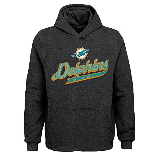 Outerstuff NFL Miami Dolphins Kids & Youth Boys Pioneer Sueded Fan Classic Hoodie, Charcoal, Youth Large(14-16)