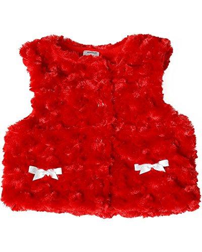 Wrangler Toddler-Girls' Fur Vest Red (Barn Girl Overalls)