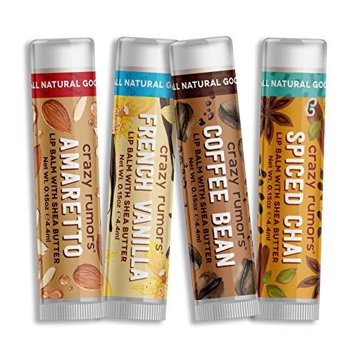 Crazy Rumors Barista Mix - Amaretto, French Vanilla, Coffee Bean + Spiced Chai - 4 Pack Lip Balm - French Vanilla Lip Balm