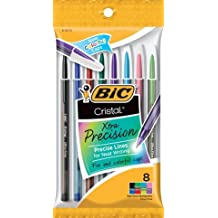 BiC Cristal Extra Precision Ball Pen Stick Assorted Fashion Fine Point, 8-Pack