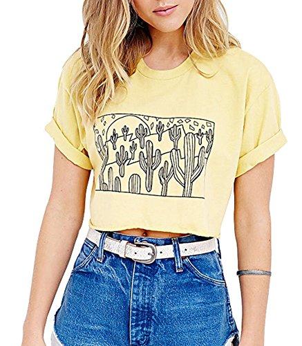 summerwhisper-womens-cactus-pattern-print-party-fall-t-shirt-crop-top-yellow-large