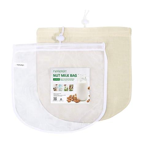 Hemoton 2 Bolsa de Leche de Nuez Reutilizable Nilón y Algodón Filtro Malla para Leches de Nueces y Vegana Fruta Zumos Yogur 30 x 30 cm