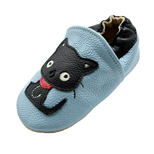 iEvolve Baby Leather Shoes Soft First Walker Shoes Crib Shoes Moccasins for Toddlers(Blue Cat, 6-12 Months)