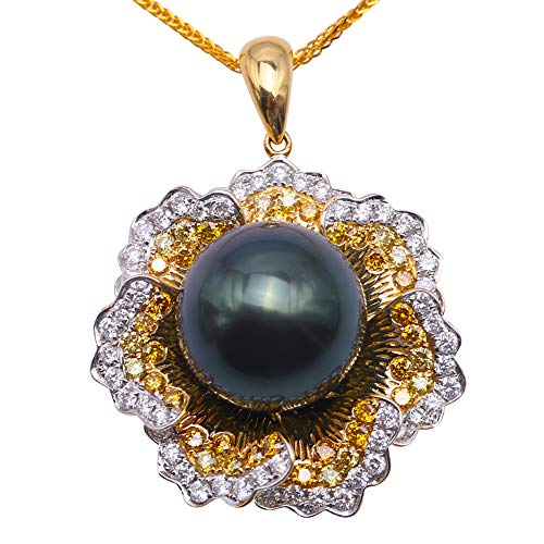 South Round Sea Green Pearl (JYX Pearl Tahitian Pendant 13.5mm Round Peacock-Green Pearl Jewelry 18K Gold with Diamond Necklace)