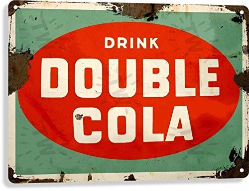 HomDeo Wall Decor Tin Sign Personalized Double Cola Soda Pop Advertising Vintage Look Retro Rustic 8x12in Metal Signs