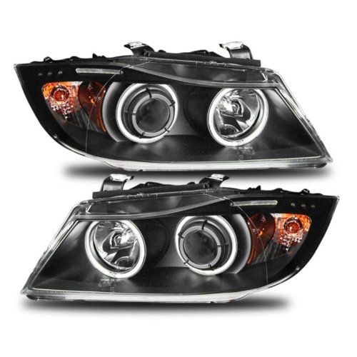 (SPPC Black Projector Headlights Assembly Set Halo W/Led Bar (CCFL) For BMW 3 Series E90/E91 4 Door/Wagon - (Pair) Driver Left and Passenger Right Side Replacement Headlamp)