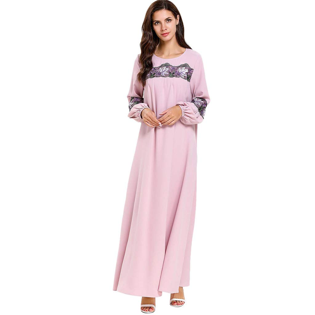 perfectCOCO Women Muslim Dress Elegant Floral Loose Arab Dresses Islam Jilbab Cocktail Robes Pink by perfectCOCO dress (Image #1)