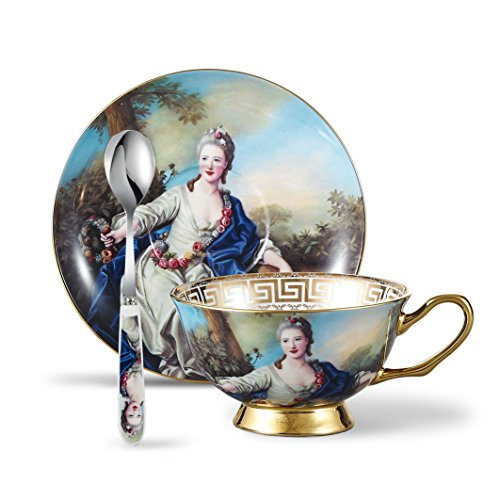 Panbado 3 Piece Bone China Tea Cup Saucer Set with Spoon Porcelain Gold Rimmed Coffee Teacup, Goddess Oil Painting Figure, 200 mL/6.8 oz, Multi-Color Cup & Saucer