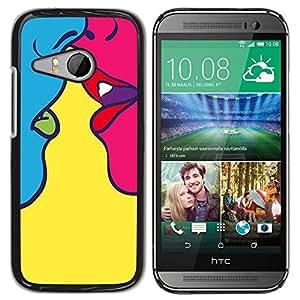 Be Good Phone Accessory // Dura Cáscara cubierta Protectora Caso Carcasa Funda de Protección para HTC ONE MINI 2 / M8 MINI // Kiss Sensual Woman Yellow Pop Art