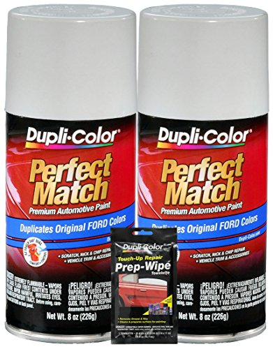 Dupli-Color Oxford White Exact-Match Automotive Paint for Ford Vehicles (8 oz.), Bundles with Prep Wipe (3 Items) ()
