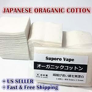 ARBUYSHOP 100% Grown japonesa orgánico sin blanquear algodón 10 pads Lote RDA VAPE WICK 5cm * 6cm