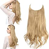 Blonde Halo Hair Extension Sandy Blonde Curly Short Synthetic Hairpiece Hidden Wire Headband for Women 14 Inch 3.7 Oz Heat Resistant Fiber No Clip SARLA(M04&25#)